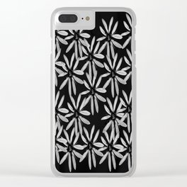 Tiny White Flowers on Black Background #decor #society6 Clear iPhone Case