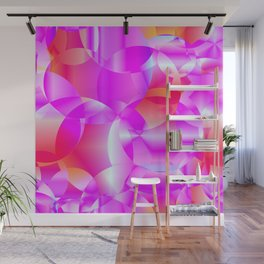 Abstract soap of cosmic transparent purple circles and pink bubbles on a languid background. Wall Mural
