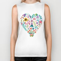 agnes Biker Tanks featuring Floral Heart by Anna Deegan