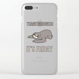 Funny, Lazy But Cute Tshirt Design TGIF Sloth Clear iPhone Case