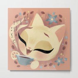 Cute Coffee Cat Metal Print