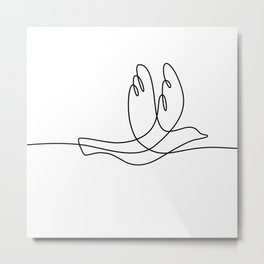 Bird Flying Continuous Line Metal Print