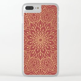 Gold Mandala Pattern On Cherry Red Clear iPhone Case