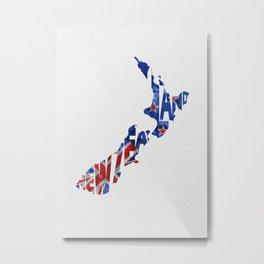 New Zealand Typographic Flag Map Art Metal Print