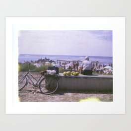 Old Man and his Bicycle Art Print