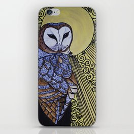 Barn Owl Art Nouveau Panel in yellow iPhone Skin