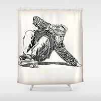 jay fleck Shower Curtains featuring Jay Adams by Travis Poston