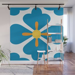 Abstract blue blossoms geometric pattern, large scale Wall Mural