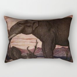 Vintage Elephant Painting (1909) Rectangular Pillow