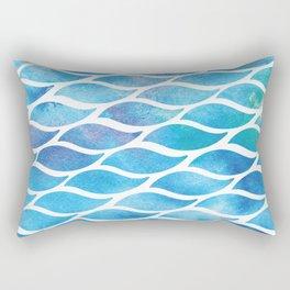 Abstract Watercolo Aqua Waves Rectangular Pillow