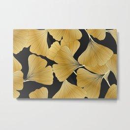 Abstract pattern with Luxury gold Ginkgo on dark background. Exotic botanical design, elegent, luxury, golden, sparkle, glitter background Metal Print
