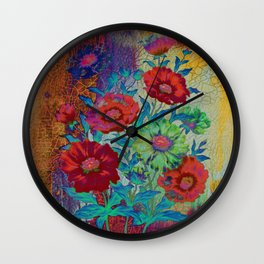 floral old tile Wall Clock