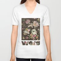 floral V-neck T-shirts featuring Botanic Wars by Josh Ln