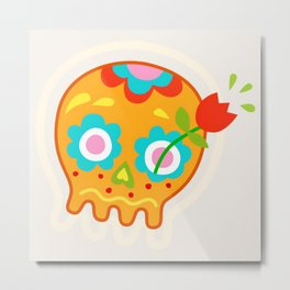 Cute Sugar Skull Day of the Dead Metal Print