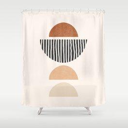 Abstract Geometric Shapes - Mid Century Boho Terracotta, Abstract Half Circles,  Earth Tones Shower Curtain