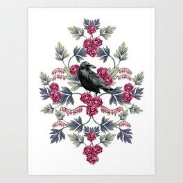 Crows, Bleeding Hearts & Roses Floral/Botanical Pattern Art Print