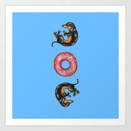 Dachshunds & Donuts  Art Print