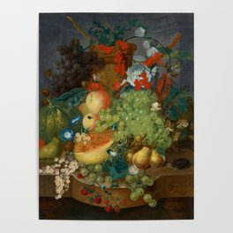 """Jan van Os  """"Fruit still life with a mouse on a ledge"""" Poster"""