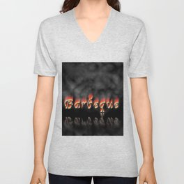 Barbeque Text On Fire Unisex V-Neck