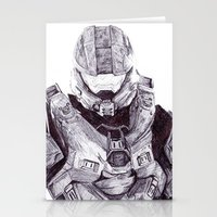 master chief Stationery Cards featuring Master Chief by DeMoose_Art