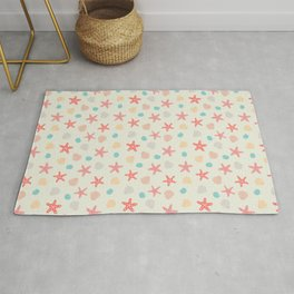 playing in the sand - beach themed pattern Rug
