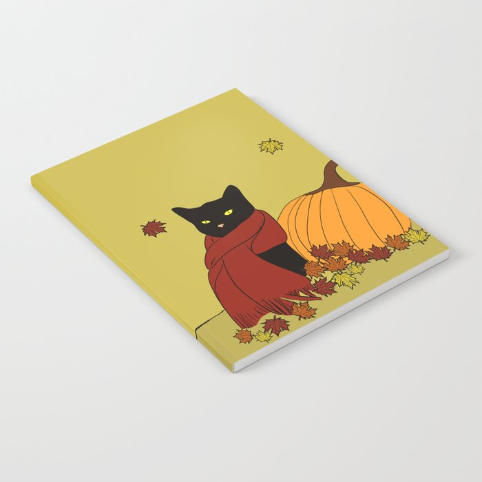 Cascade The Black Cat In Red Scarf With Pumpkin - Fall Notebook