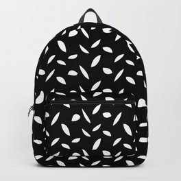 Tiny Petals & Leaves - White on Black Backpack