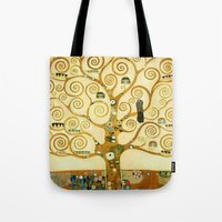 gustav klimt Tote Bags featuring Gustav Klimt The Tree Of Life  by Art Gallery