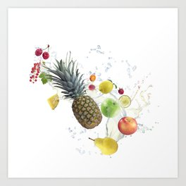 Fresh fruits and berries  with water splash Art Print