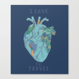 love to travel-world map 2 Canvas Print