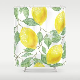 Lemons and Leaves Watercolor Illustration, The Branches Of The Lemon Tree, Watercolor Lemon Tree Shower Curtain
