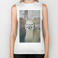 alpaca Biker Tanks featuring White Alpaca  by Laura Ruth