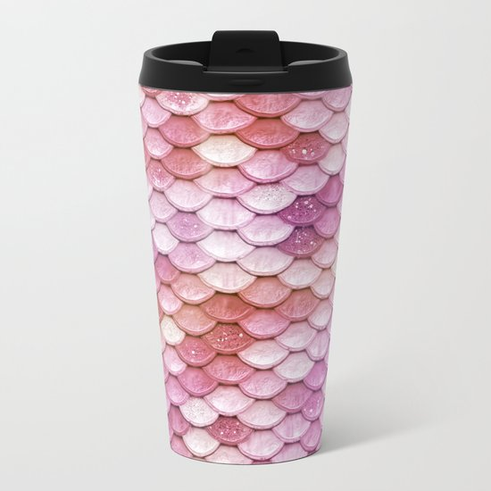Multicolor pink mermaid glitter scales - Mermaidscales Metal Travel Mug
