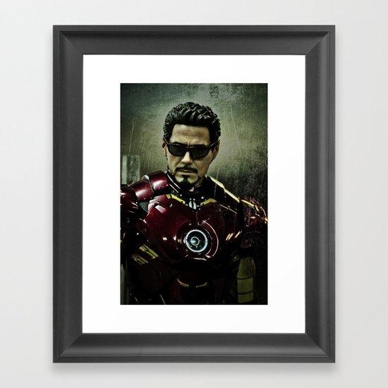 Tony Stark in Iron man costume  Framed Art Print