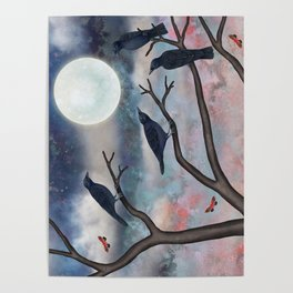 crows, moths, moon Poster
