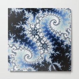 Three Blue Stars - fractal design Metal Print
