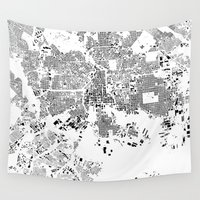 baltimore Wall Tapestries featuring Baltimore Map Schwarzplan Only Buildings by City Art Posters