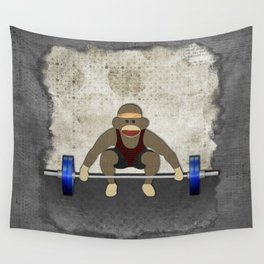 Sock Monkey Bodybuilder Wall Tapestry