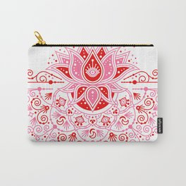 Lotus Blossom Mandala – Red & Pink Palette Carry-All Pouch