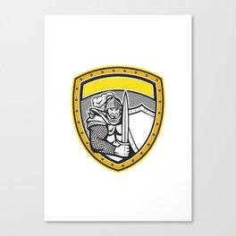 Knight Full Armor Open Visor Sword Shield Crest Retro Canvas Print