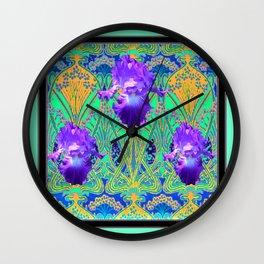Elegant Art Nouveau Purple Iris Aqua Flower Garden Wall Clock