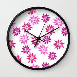 Bright Winter Flowers Wall Clock