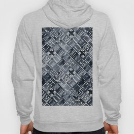 Simply Tribal Tiles in Indigo Blue on Lunar Gray Hoody