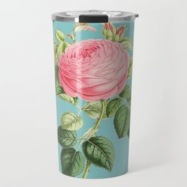 Vintage Flowers - Pink Rose Travel Mug
