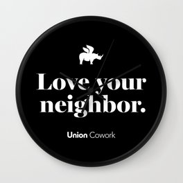 Love Your Neighbor – Union – Black Wall Clock