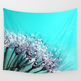 Dandelion With Water Crystals Wall Tapestry