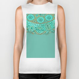 Ornate Medallion Accent on Striped Aqua & Sea Green Biker Tank