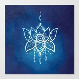 Blue Lotus Flower Mandala Canvas Print