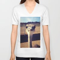ostrich V-neck T-shirts featuring OSTRICH by Kaitlin Bloom