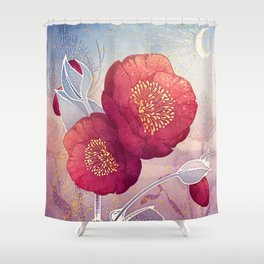 Christmas Roses :: Red Petals, Frosted Leaves Shower Curtain